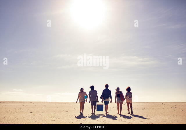 Rear view portrait of young people carrying cooler box walking on the beach. Looking for a spot for party. Friends - Stock Image