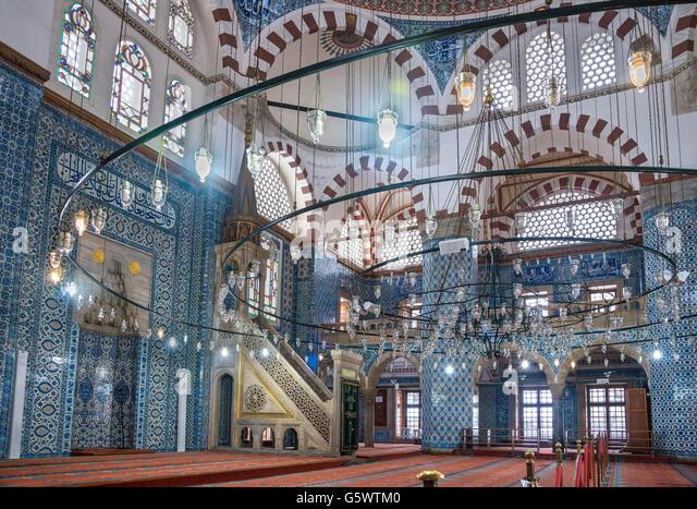 Interior of the 16th cen. Rustem Pasha Mosque, Tahtakale, Istanbul, Turkey - Stock Image