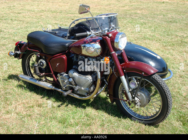 1955 royal enfield super meteor and watsonian sidecar   stock image