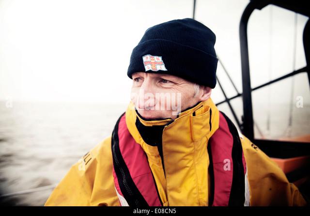 John Fox - Coxswain - Lowestoft RNLI Lifeboat - Stock Image