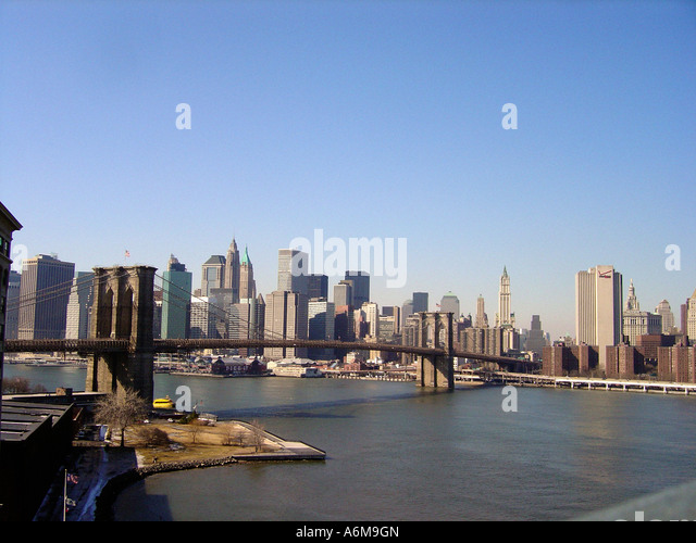 View of Brooklyn Bridge and Lower Manhattan from Manhattan Bridge New York City NYC - Stock Image