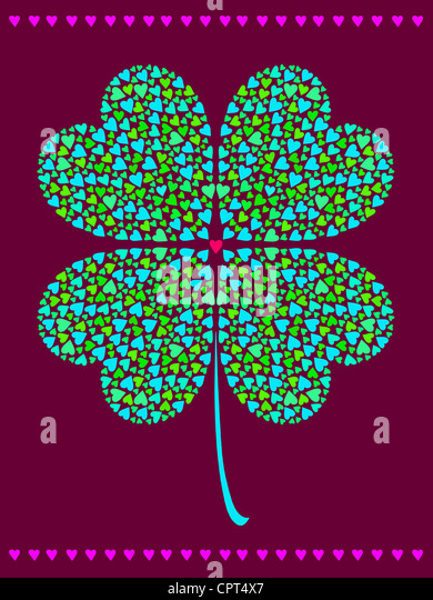 A shamrock made of smaller hearts - Stock Image