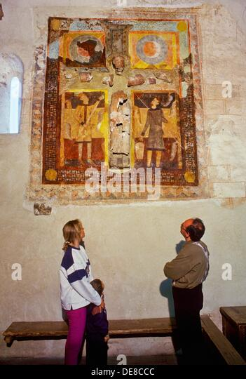 Remains of polychrome plaster Christ Romanesque church  Sant Joan de Caselles church, 12th century  Canillo  ANDORRA. - Stock Image