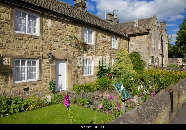 Plague cottages, Eyam, Derbyshire, England, United Kingdom, Europe - Stock Image
