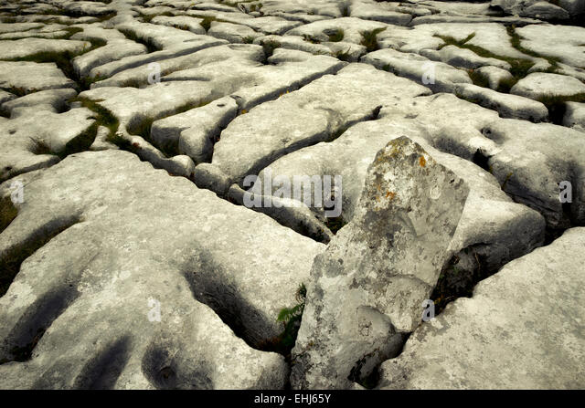 Karst rock formation near the Megalithic tomb called Poulnabrone. The Burren, Ireland - Stock-Bilder