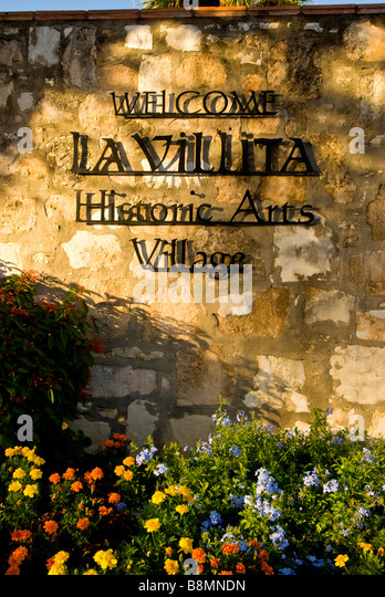 La Villita entrance sign marker San Antonio texas tx historic arts village shopping area - Stock Image