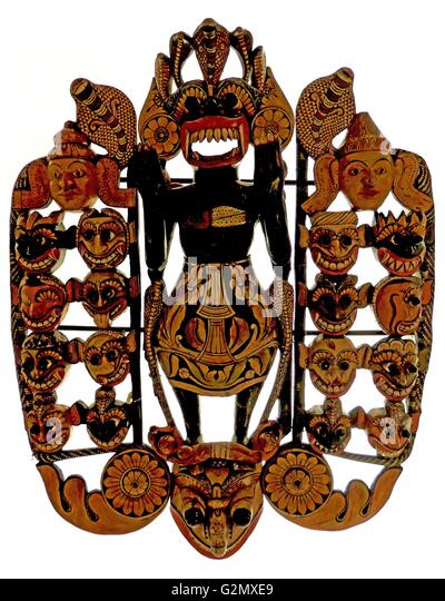 Daemons of disease mask 19th century A.D. - Stock Image