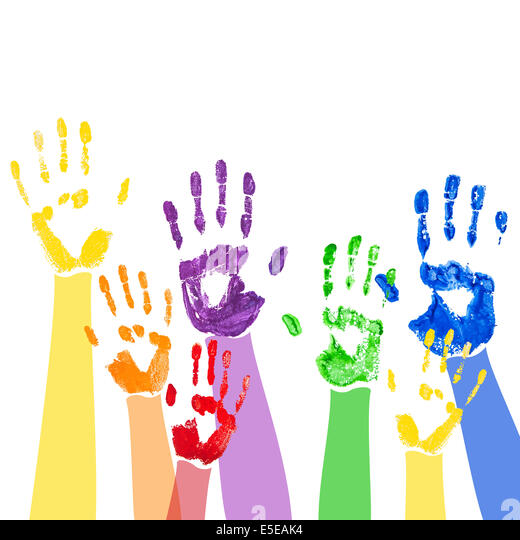 Abstract background with bright multicolored paint hand prints - Stock-Bilder