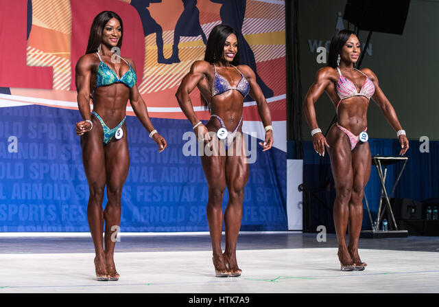 March 3rd 2017, Columbus, OH, USA;  Candice Lewis-Carter (5), Cydney Gillon (2), and Latorya Watts (10) compete - Stock-Bilder