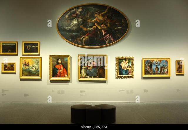 Artworks on display at the Accademia Carrara art gallery in Bergamo, Lombardy, northern Italy, July 2017 - Stock Image
