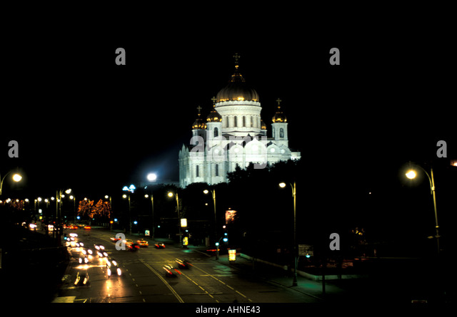 Moscow Russia Christ of the Savior Cathedral city landmark at night - Stock Image