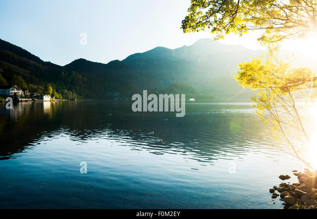 Sunset on Lake Kochel, Bavaria, Germany - Stock Image