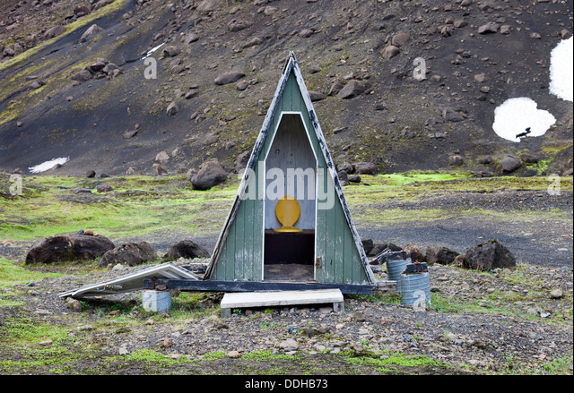 Longdrop Toilet Below the Mountain of Strutur Iceland - Stock Image