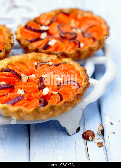 Carrot and onion tart - Stock Image