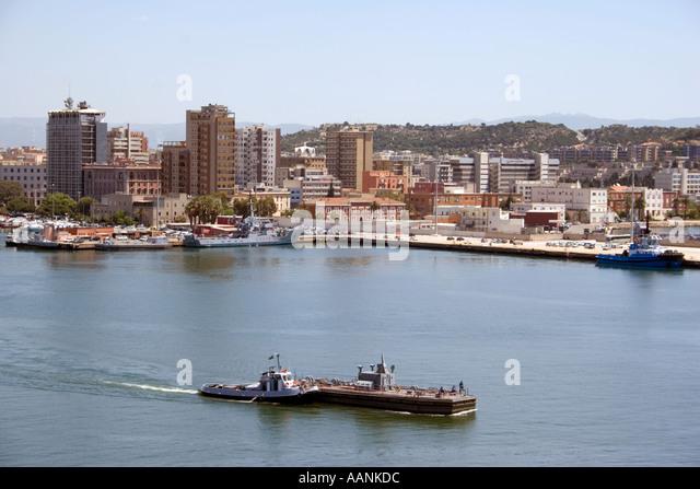 Cagliari Port and City, Sardinia - Stock Image