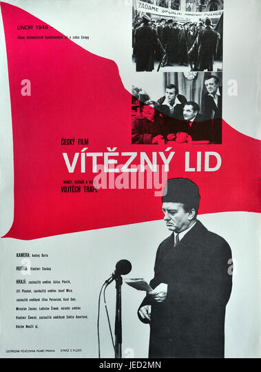 Victorious people. Original Czech movie poster for Czechoslovak film Viteny lid of director Vojtech Trapl, 1977. - Stock Image