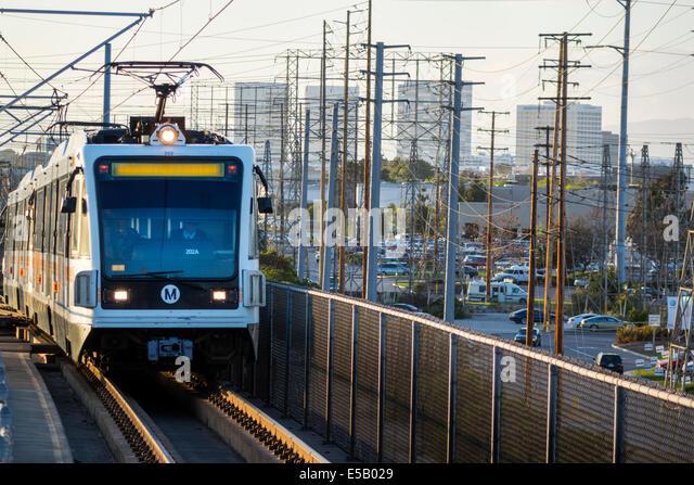 California CA Los Angeles LA County Metro Rail heavy rail mass transit public transportation train pantograph power - Stock Image