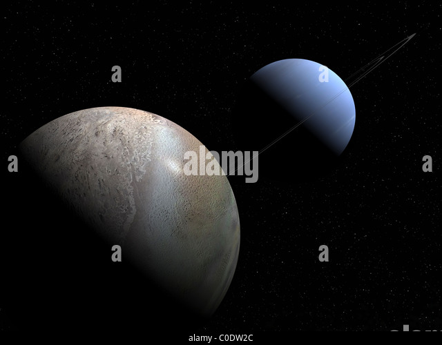 Illustration of the gas giant planet Neptune and its largest moon Triton. - Stock-Bilder