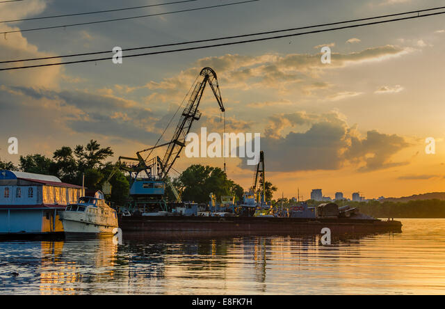 Ukraine, Kyiv, Old Dock and ship - Stock Image