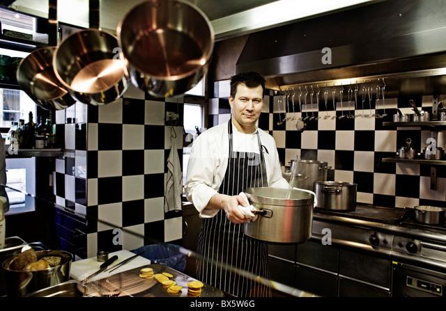 Oldrich Sahajdak, chef, kitchen, La Degustation Boheme Bourgeoise, restaurant - Stock Image