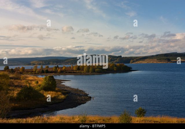 Kielder Water in late afternoon Autumn sunshine, North Tyne Valley, Northumberland - Stock Image