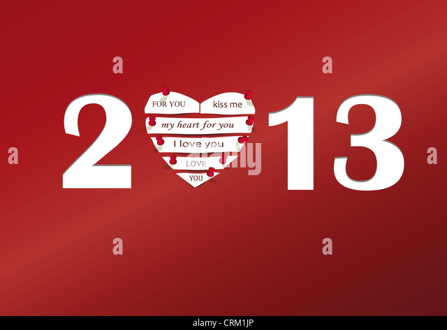 Concept card on New Year 2013 with heart - Stock Image