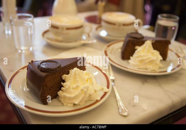 Vienna Austria Sacher Hotel Famous Sacher Torte and Malange - Stock Image