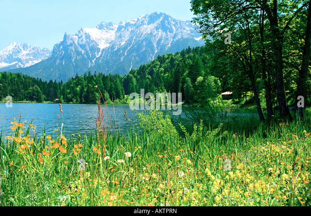 bavarian alps from lake ferchensee on a sunny summer day in germany - Stock Image