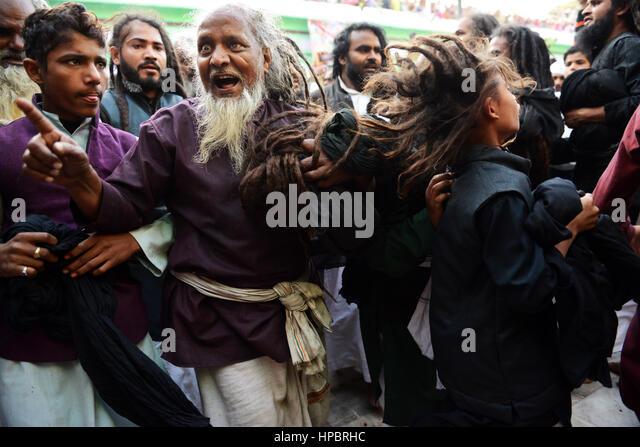Sufi Malangs dancing during the Urse Zinda Shah madar festival in Makanpur, India. - Stock Image