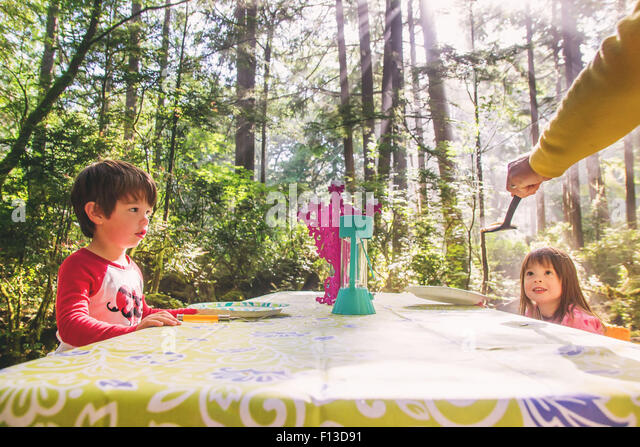 Two children sitting at picnic table in forest - Stock Image