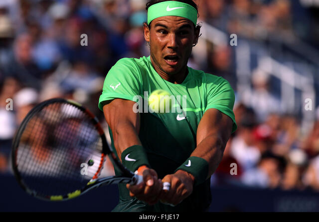 New York, USA. 02nd Sep, 2015. Rafael Nadal of Spain, the number 8 seed, in action against Diego Schwartzman of - Stock Image