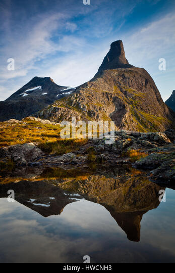 Last light on the mountain Romsdalshorn, Møre og Romsdal, Norway. - Stock-Bilder
