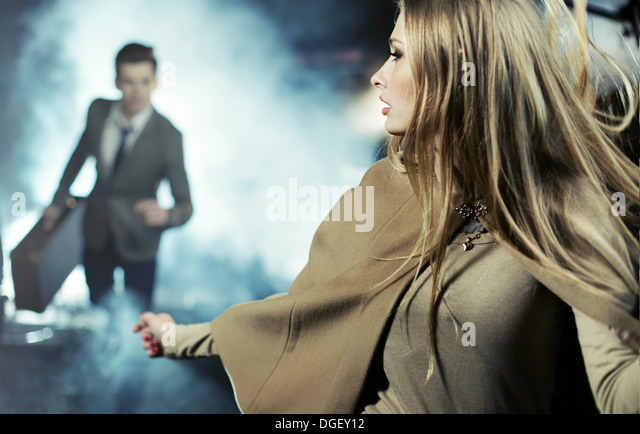 Scene of breaking up of two young lovers - Stock Image