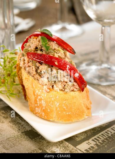 Creamy tuna paté open sandwich - Stock Image