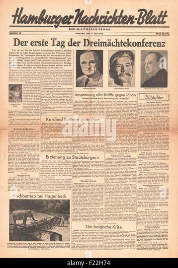 1945 Hamburger Nachrichtenblatt First Day of Potsdam Conference - Stock Image