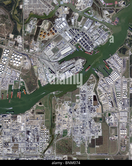 aerial map view above ship channel Port Houston Texas - Stock Image