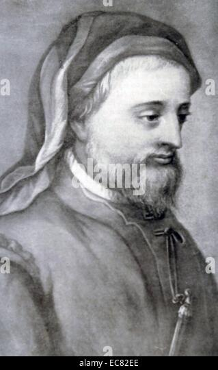 Engraving of Geoffrey Chaucer - Stock Image