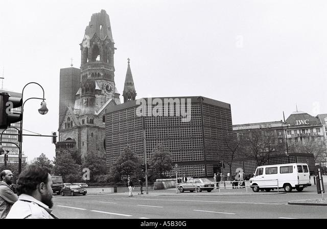 Kaiser, Whilelm, Memorial, church, Berlin, Germany, EU, OLD, historic, history, archive, 1989, 1990, - Stock-Bilder