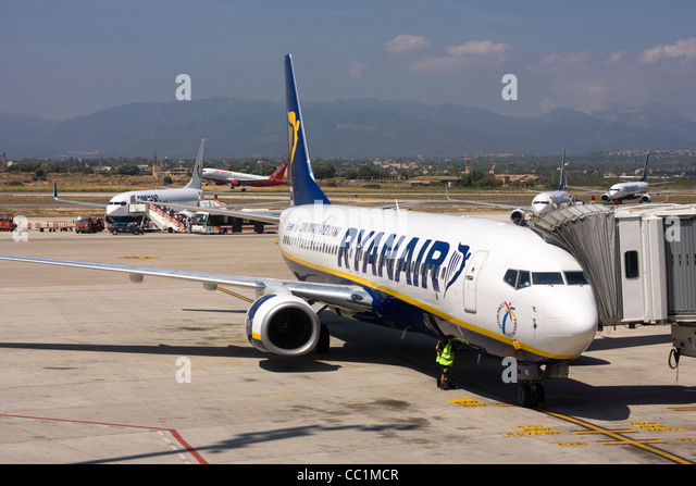 Ryanair Boeing 737-8AS at the airport gate. Palma de Mallorca, Son Sant Joan Airport, Spain. - Stock Image