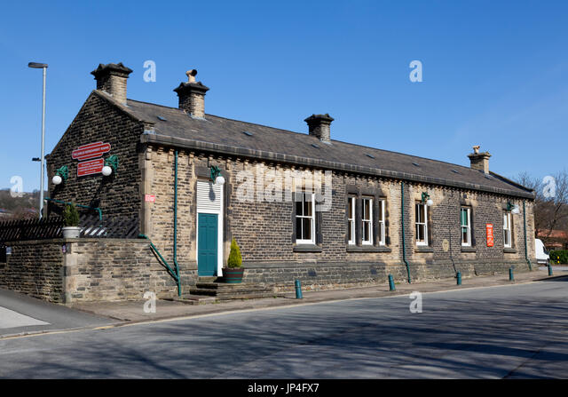 Jubilee Refreshment Rooms in former railway station building, Sowerby Bridge, West Yorkshire - Stock Image