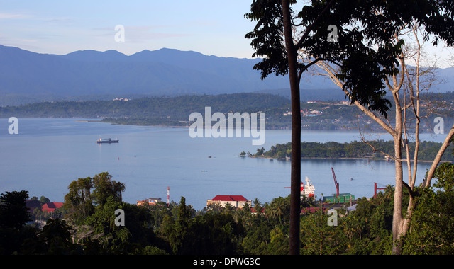 Scenic view of Manokwari bay and harbor in West Papua - Stock Image
