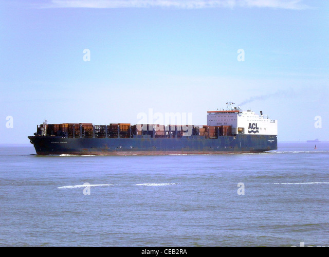 Atlantic Compass, a ConRo ship operated by Atlantic Container Lines (ACL) outbound on the River Elbe near Cuxhaven - Stock Image