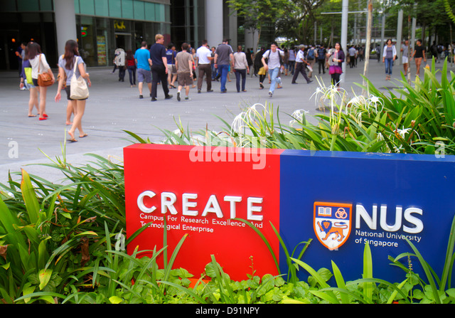 Singapore National University of Singapore NUS University Town school student campus logo sign - Stock Image