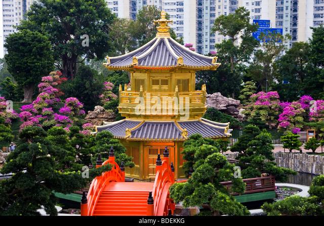 China, Hong Kong, Pagoda at Chi Lin Nunnery Chinese garden, Diamond Hill, - Stock Image