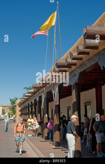 Art and jewelry of American Indians for sale at the Palace of the Governors Santa Fe New Mexico - Stock Image