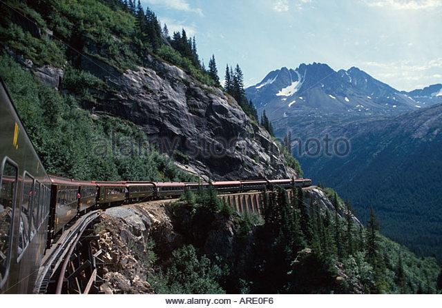 Alaska Skagway White Pass & Yukon Railroad excursion to White Pass Summit - Stock Image