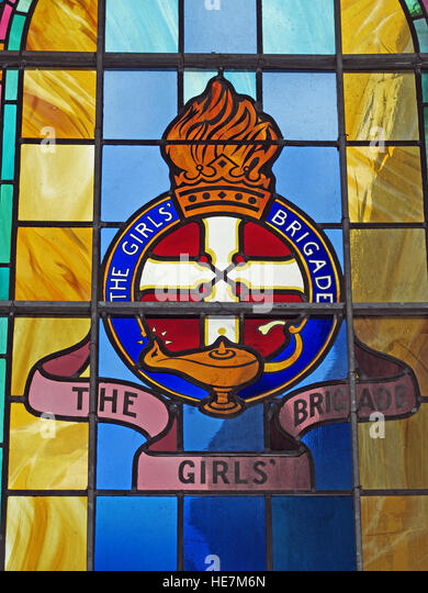 St Annes Belfast Cathedral Interior,Girls Brigade detail of stained glass window - Stock Image