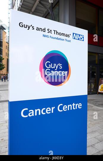 Sign Outside Guys And St Thomas Hospital Cancer Centre, Newcomen Street, Southwark, London, UK - Stock Image