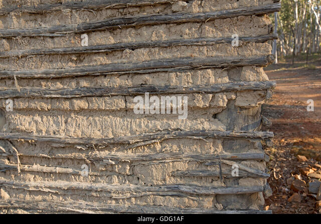 Section of wall of building made with wattle & daub showing a simple inexpensive method of construction with - Stock Image