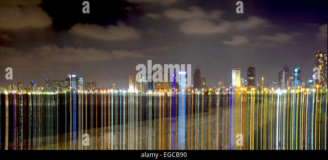 Tel Aviv skyline at night, Light effect, Israel - Stock Image
